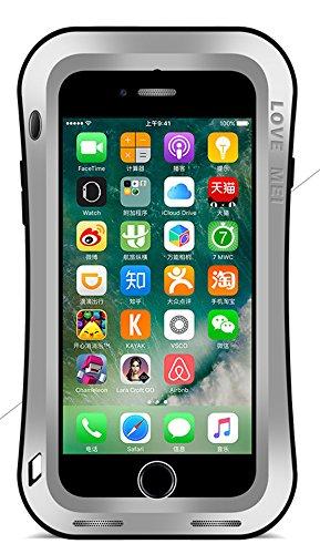 Fall für Apple iPhone 7(11,9cm), Marke Love Mei [Curve Stil] Wasserdicht Stoßfest Staubdicht Aluminium Metall mit integrierter gehärtetem Glas Displayschutzfolie * 2Jahre Garantie * silber
