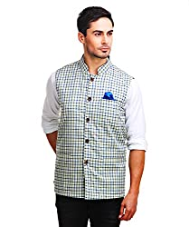 Chokore Mens Reversible Off white with Blue & Green Checks / Blue Cotton Nehru Jacket