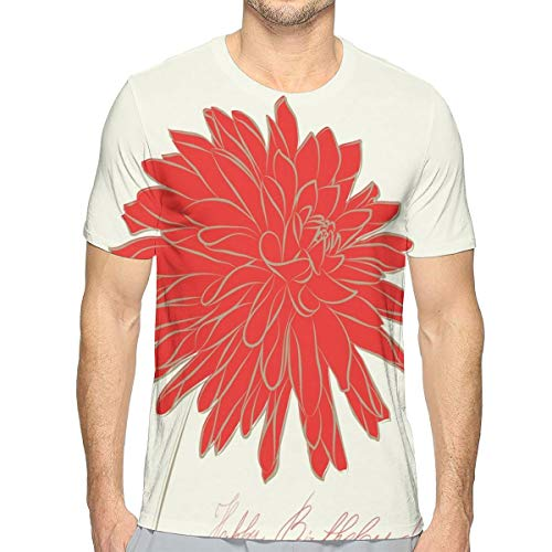 3D Printed T Shirts,Sketching of A Colossal Dahlia Blossom Retro Style In Blood Red Colored Single Flower XL - Dahlia Sham