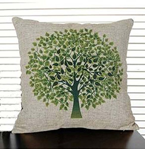 Jastore Cotton Linen Green Tree on Both Side Decorative Thick Pillow Cushion Cover Pillowcase/Kissenbezüge 18-by-18-inches (18x18 Inches)