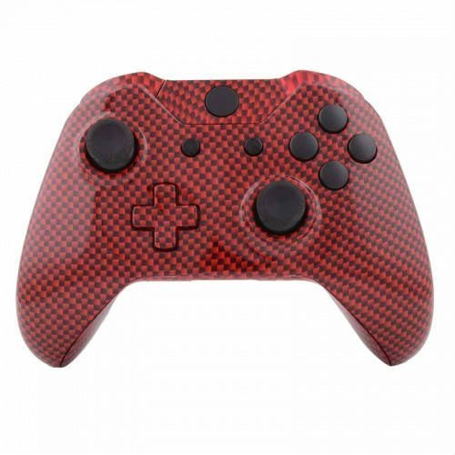 Mod Freakz Xbox One Controller Shell/Buttons Red Black Carbon Fiber (Not a Controller - Does Not Have a Headphone Jack) by Mod Freakz