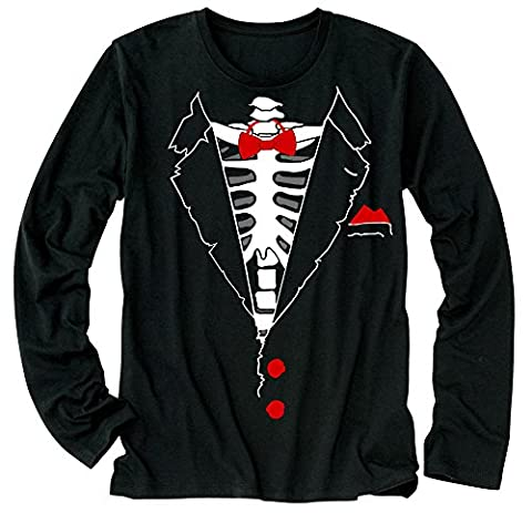 T-Shirt à manches longues - Horror Cosplay, Skeleton and Red Bow Tuxedo Black Large