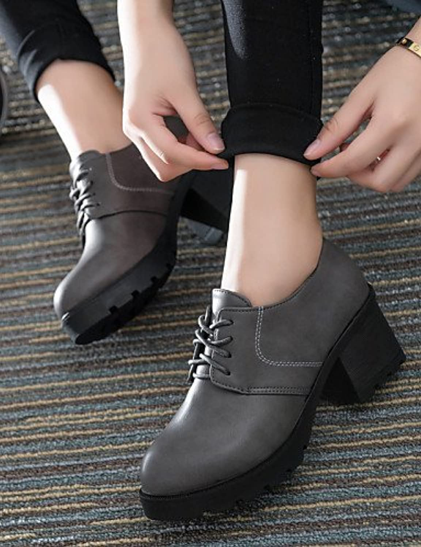 njx/Hug Damen Schuhe Chunky Ferse rund Heels Casual Schwarz/Rot/Grau