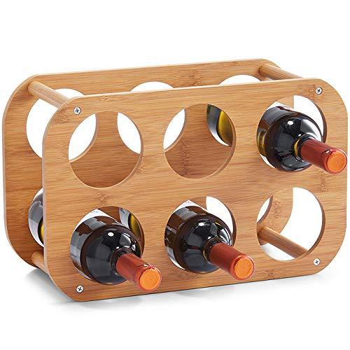 H-e portabottiglie in bambù autoportante per 6 bottiglie di vino