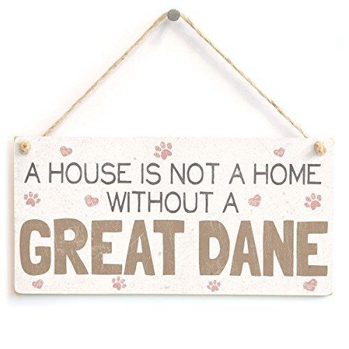 Dogge Hund Tür (Funny Deko Schild Schilder A House Is Not A Home ohne Deutsche Dogge Süßer Hund Schild aus Holz zum Aufhängen für Home House Tür)
