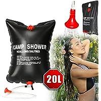 Bolsa de ducha de acampada, se calienta con energía solar, portátil, de PVC, con boquilla de accionamiento, 20 l, negro
