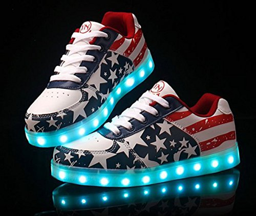 [Présents:petite serviette]JUNGLEST® - 7 Couleur Mode Unisexe Homme Femme Fille USB Charge LED Chaussures Lumière Lumineux Clignotants Chaussures de marche Haut-Dessus LED Ch c16