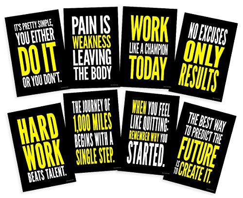 Focus and Zeal Motivationsposter-Set mit historischem Zitat Success, inspiriert von Crossfit und Fitnessstudio, für Fußball und Basketball, 30,5 x 45,7 cm, 8 Stück -