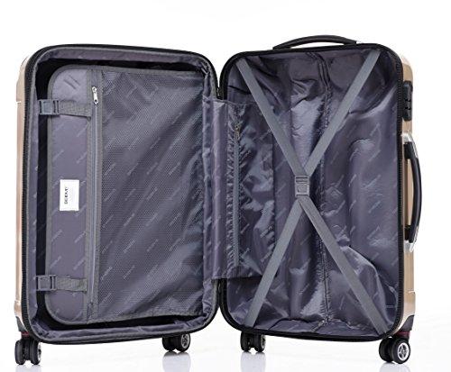 BEIBYE Zwillingsrollen 2048 Hartschale Trolley Koffer Reisekoffer in M-L-XL-Set in 17 Farben (Champagner, L) - 6