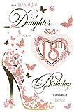 Tochter zum 18. Geburtstag Karte–18Heute leuchtende Schmetterlinge & Blumen 24,8x 16,5cm