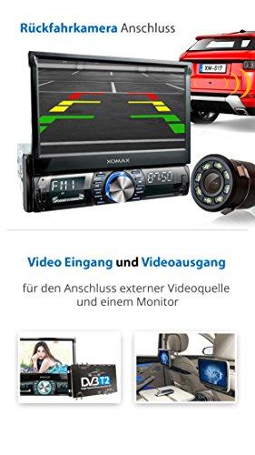 XOMAX XM-VRSU742BT Autoradio I Schermo motorizzato I Touch screen da 18 cm 7 HD I Bluetooth I 7 colore di illuminazione I USB SD I Collegamento per telecamera retromarcia e subwoofer I 1 DIN