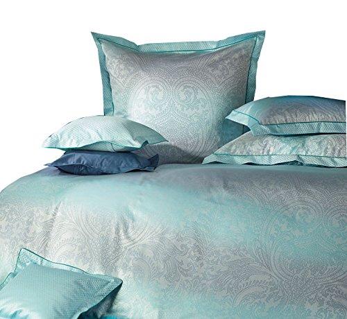 Curt Bauer Mako-Brokat Damast Wendebettwäsche Aurora türkis-blau 1 Bettbezug 135x200 cm + 1 Kissenbezug 80x80 cm (Bauern Türkis)