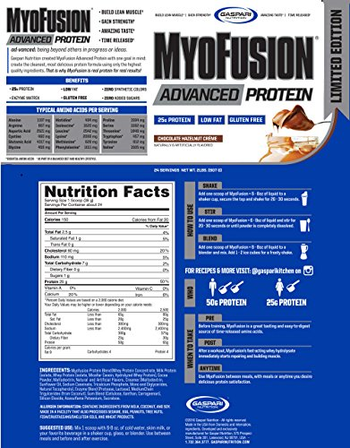Gaspari Nutrition Proteine Caseine e Blend Myofusion Advanced 2Lb Chocolate Hazenut - 1.2 kg - 51lF39XHgGL