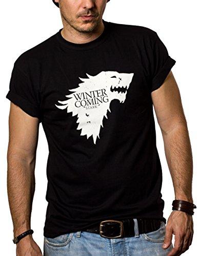 Camisetas Negras Hombre - WINTER IS COMING - Juego de Tronos XXXL