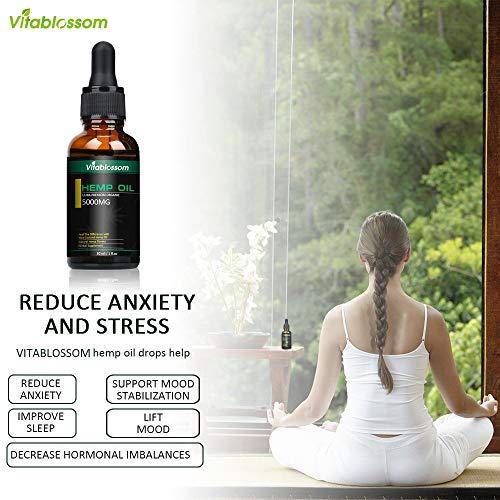 Gotas de aceite de cáñamo,  extracto completo de espectro Aceite de semilla de cáñamo,  ideal para aliviar el dolor Ayuda para dormir,  etc. (5000mg)
