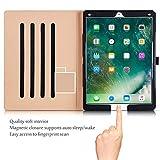 Apple iPad Pro Étui - ProCase Housse en Cuir Housse Folio pour 2017/2015 Apple iPad Pro 12,9 Pouces, avec Plusieurs Angles de visionnage, Auto Sleep/Wake, Pocket Card Document (Noir)