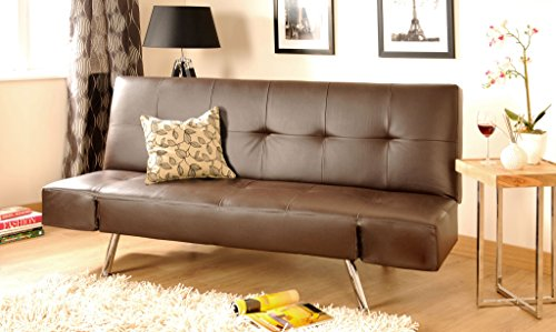 Comfy Living 2-3 Seater Faux Leather Sofa Bed With Adjustable Arms in Black or Brown (Brown)