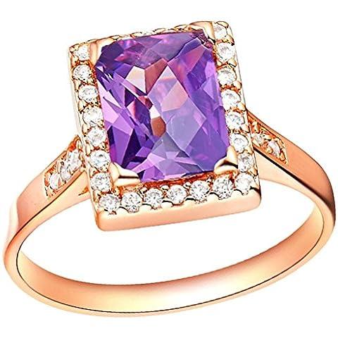 Vmculb Joyería Manera Anillo Chapado en Oro Mujer Oro Rose Rectángulo CZ con Circonitas Diamantes Imitación Pavé Anillos de Eternidad