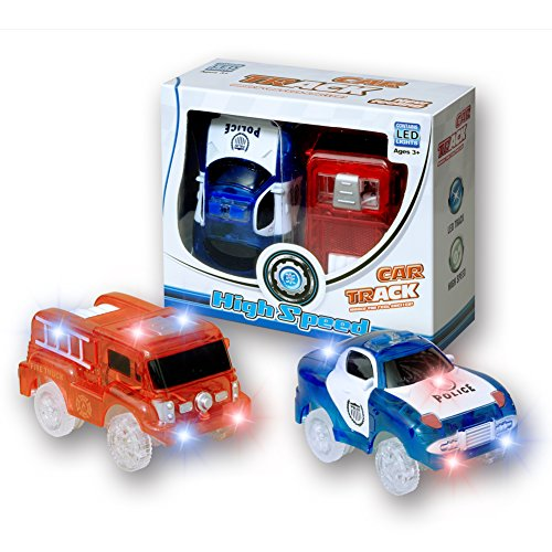 MIGE Auto Spur Polizei Einsatzwagen und Feuerwehrauto Electric Auto Leuchten im Dunkeln mit Magic Tracks für Kinder 3 Jahre und Bis Packung von 2 (rot + - Mädchen Für Batterie-autos