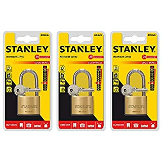 STANLEY Set of 3 Solid Brass Security Padlock for Outdoor Storage, Fence, School Gym Locker - with Keys
