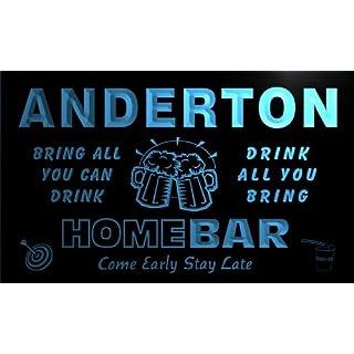 q00914-b ANDERTON Family Name Home Bar Beer Mug Cheers Neon Light Sign