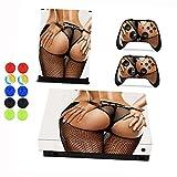Xbox One X Skin Sticker, Morbuy Holzmaserung Stil Designfolie Vinyl-Folie Aufkleber für Konsole + 2 Controller Aufkleber Schutzfolie Set +10 pc Silikon Thumb Grips (Sexy Arsch)