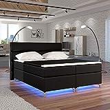Moebel89 Boxspringbett Amadeo in schwarz 160/180cm, Farbe wie abgebildet 180cm x 200cm/Bett, Doppelbett, Hotelbett, Gästebett als Boxspringbett mit Federkern mit Schaumpolsterung