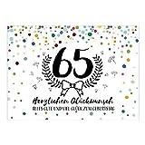 Große XXL Design Glückwunsch-Karte zum 65. Geburtstag mit Umschlag/DIN A4/Konfetti mit Jubiläumskranz/Schnaps-Zahl/Grußkarte