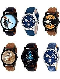 NIKOLA Best 3D Design Mahadev Damru Black Blue And Brown Color 6 Watch Combo (B22-B56-B13-B25-B23-B57) For Boys...