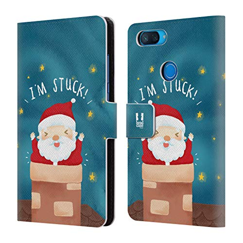 Head Case Designs Kamin Santa Unglücke Leder Brieftaschen Huelle kompatibel mit Xiaomi Mi 8 Lite/Mi 8X -