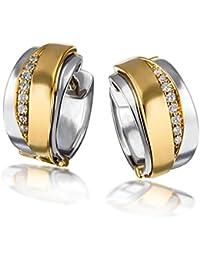 Goldmaid Damen-Creolen 585 Gelbgold und 925 Sterlingsilber 16 Diamanten Bicolor Ohrringe Brillanten