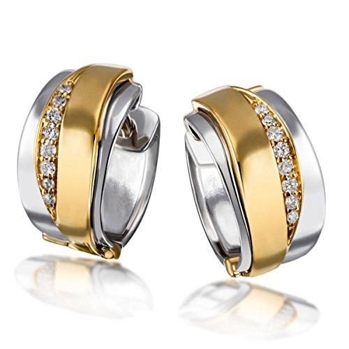 Goldmaid Damen-Creolen 585 Gelbgold und 925 Sterlingsilber 16 Diamanten