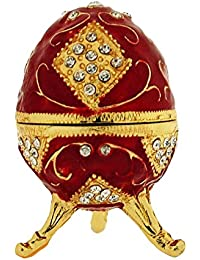 TOC Red Fabrege-Style Egg Trinket Jewellery Box