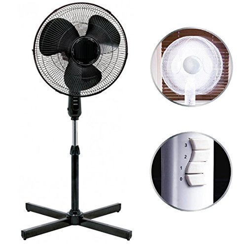 """51lF8I9reRL - BEST BUY #1 Black 16"""" Standing Pedestal Stand Fan Adjustable Oscillating Rotating Stay Cool 3 Speed Reviews and price compare uk"""
