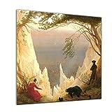 """Bilderdepot24 Glasbild Caspar David Friedrich - Alte Meister """"Kreidefelsen auf Rügen"""" 30x30 cm - Deko Glas - brilliante Farben, inkl. Aufhängung"""
