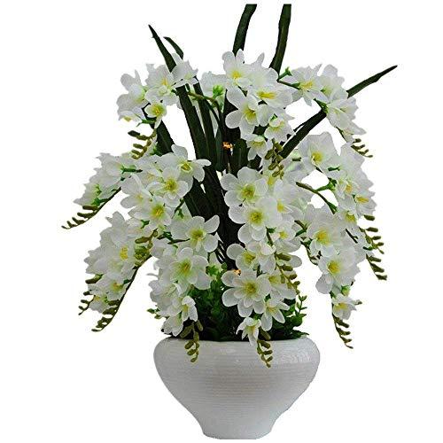 Jnseaol Kunstblumen Künstliche Blumen Orchidee Wohnzimmer Hochzeit Party Küche Home Eine Große Verzierung Keramiktopf DIY Weiß -19