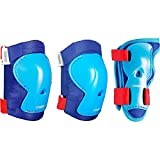 #4: Oxelo Play Kid's Inline Skate Skateboard And Scooter Protectors Set of 3 - Blue Red