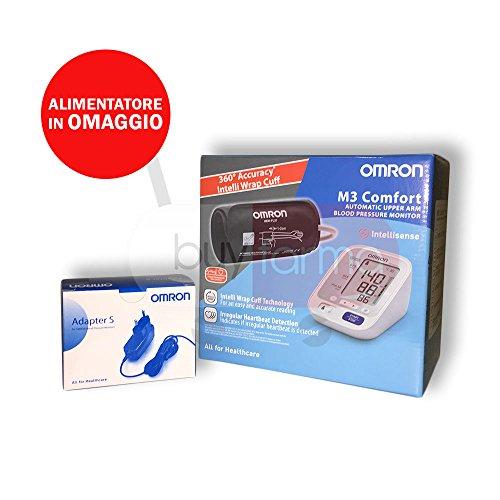 Omron M3 Comfort - Misuratore di Pressione da Braccio Digitale + Alimentatore di Corrente in Omaggio