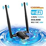 LINGwell Wifi Dongle,1200Mbps Wifi Adapter Wireless Network USB 3.0 Dual Band Detachable Antenna