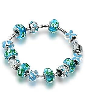A TE® Armband Charms Blau Glasperle Emaille Blütenblatt Damen Geschenk #JW-B98