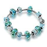A TE Armband Charms Blau Glasperle Emaille Blütenblatt Damen Geschenk #JW-B98