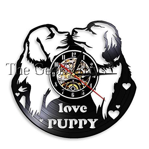 YLNEW Ich Liebe Hunde Hund Pet Shop Dekorative Wanduhr Welpen Hunderassen Vinyl Record Wanduhr Hängen Watch Dog Lovers Haustier Besitzer Geschenk (Eine Halloween-welpe Film)