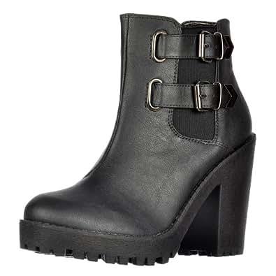 Heel Onlineshoe Rihanna femmes et élastiques côtés Boucles Chelsea Boot Black UK8 - EU41 - US10 - AU9