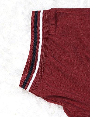 YCHENG Herren Basic Kurzarm Poloshirt Polos T-Shirt Einfarbig M-XXL Rot 1