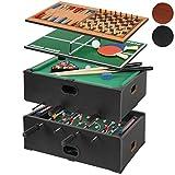 Jago Spieltisch/Tischfussball Billard, Tischtennis, Backgammon und Schach - 5in1 - in Schwarz/in Buche (Schwarz)