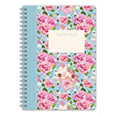 "LifeDesign Notizbuch A5 Notizheft Spiralbuch ""Rose"" 120 Seiten creme liniert"