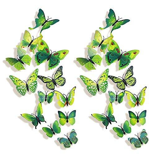 Forepin® 24 Pezzi 3D Farfalle Magnete Casa Camera Frigo Decorazioni Animal Wall Sticker Adesivi Murali Adesivi da Parete con Colla Stick - Verde