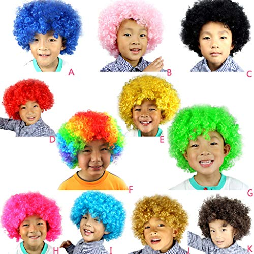 LSAltd 2019 heiße Party Disco Lustige Afro Clown Haare Fussball Fan-Kids Afro Maskerade Haar Perücke Clownperücke ()