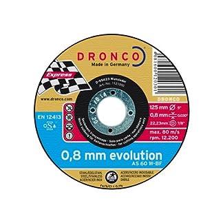 Dronco AS60W-125PACKPLUS Discos de Corte Metal, As 60 W Inox Evolution, 125 Mm Diámetro, 0.8 Mm Espesor, 22.23 Mm Diámetro Eje, 12,200 RPM, Set de 10