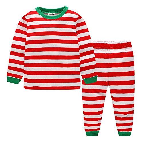 Kinder Weihnachten Pyjamas Jungen Streifen Nachtwäsche Mädchen Xmas Schlafanzug (7-8 Jahre)